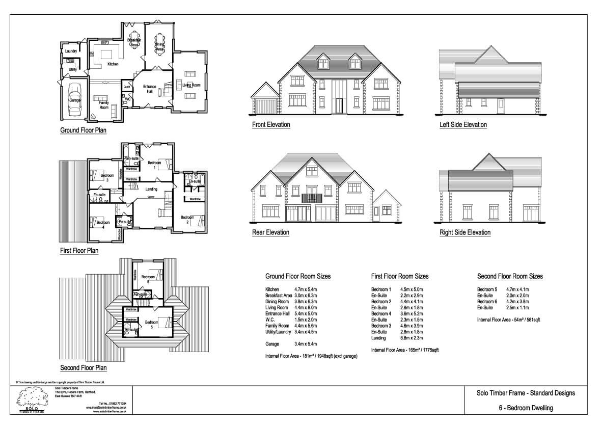 Ghylls lap 6 bedroom house design solo timber frame for 2 bed house floor plans uk
