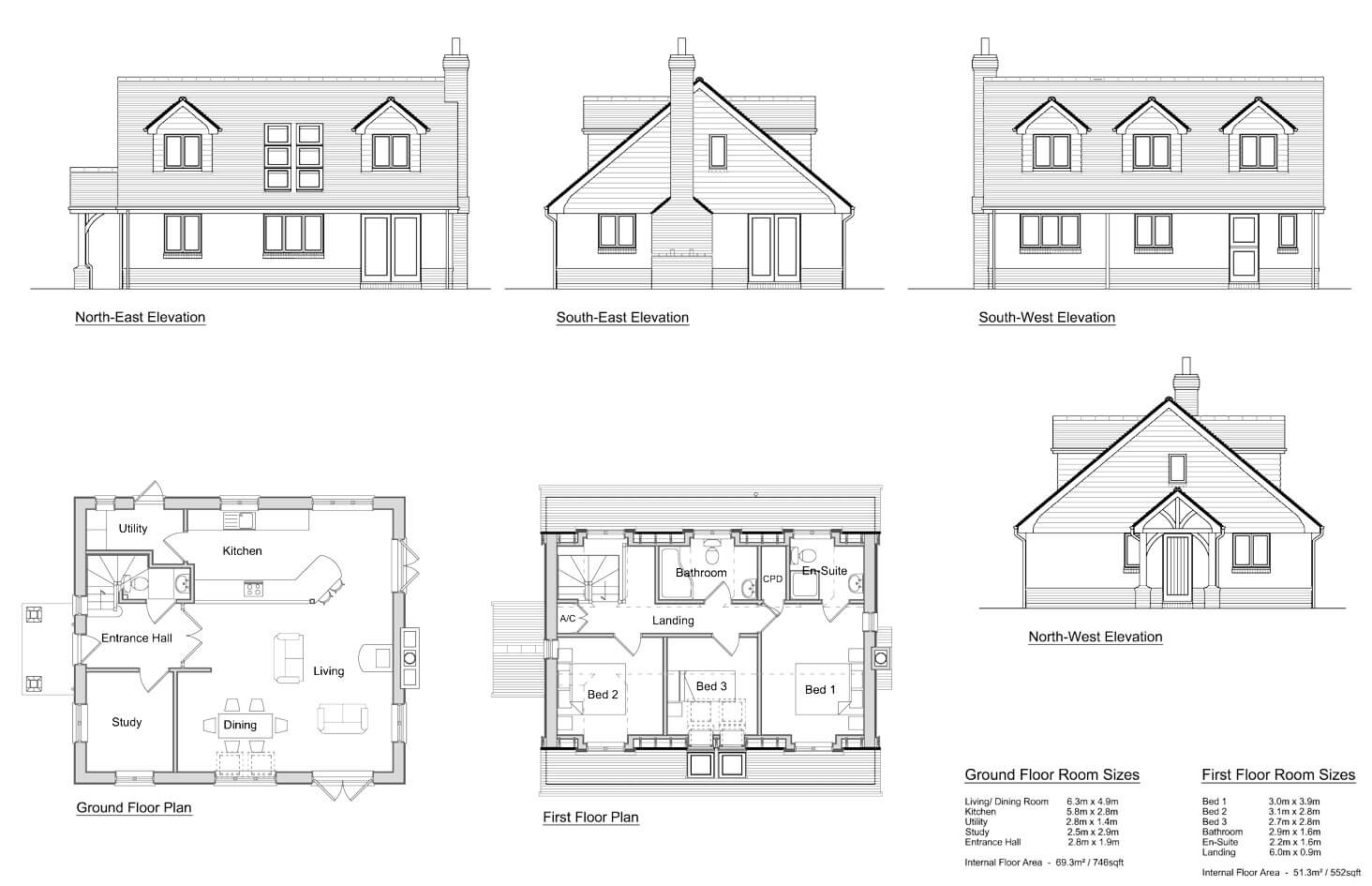 Lansdowne 3 bedroom chalet design solo timber frame for Houses and their plans