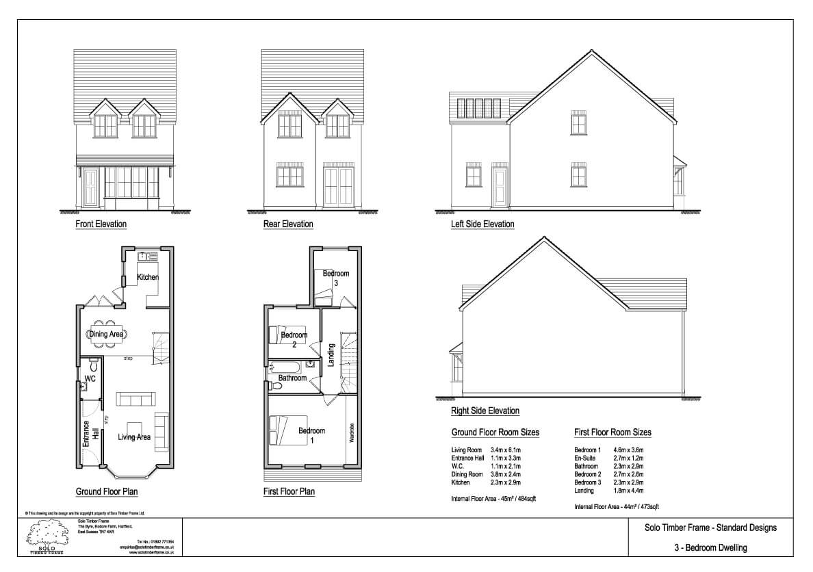 Townsend 3 3 bedroom house design solo timber frame for Uk house floor plans