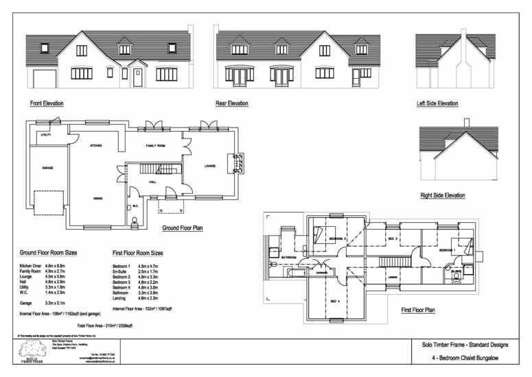 Twyford 4 bedroom chalet design solo timber frame for 4 bed house plans uk